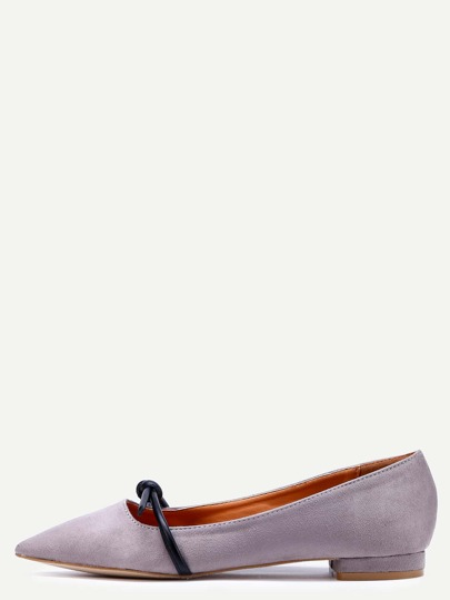 Grey Faux Suede Mary Jane Flats