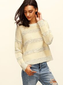 Apricot Stripe Round Neck Long Sleeve Sweater