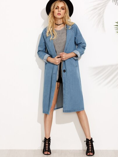 Blue Lapel Denim Long Outerwear