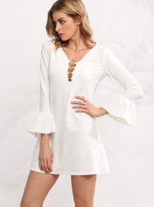 White V Neck Bell Sleeve Ring Accent Dress