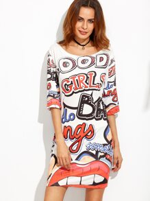 Letter Print Elbow Sleeve Tshirt Dress