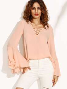 Pink Crisscross V Neck Bell Sleeve Split Back Blouse