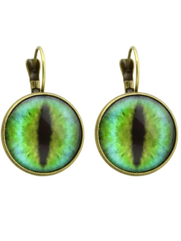 Bronze Ethnic Style Imitation Gemstone Round Hoop Earrings