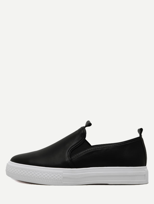 Image of Black PU Elastic Sneakers