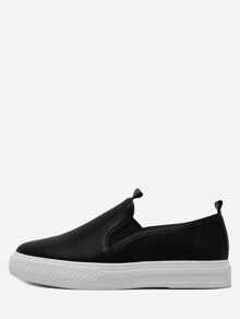 Black PU Elastic Sneakers