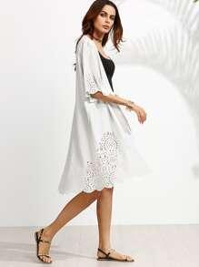 White Laser Cutout Scallop Trim Long Kimono