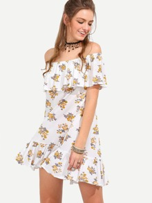 Multicolor Flower Print Off The Shoulder Ruffle Dress