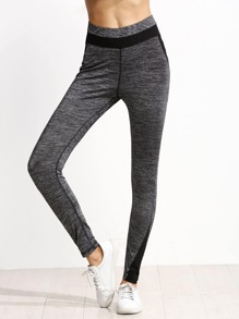 Heather Grey Contrast Panel Leggings