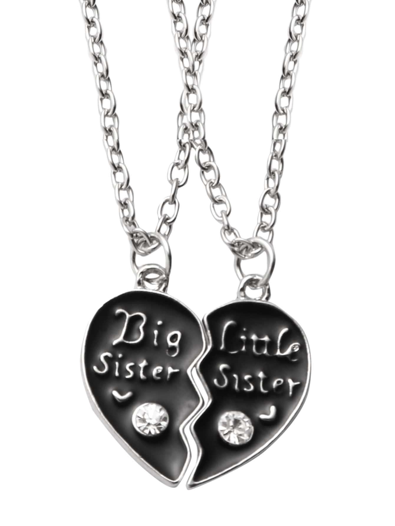 Фото Black Personalised Engraved Breakable Heart Necklaces. Купить с доставкой