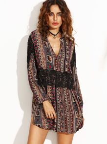 Vintage Print V Neck Contrast Crochet Dress