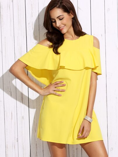 Yellow Cold Shoulder Ruffle Shift Dress