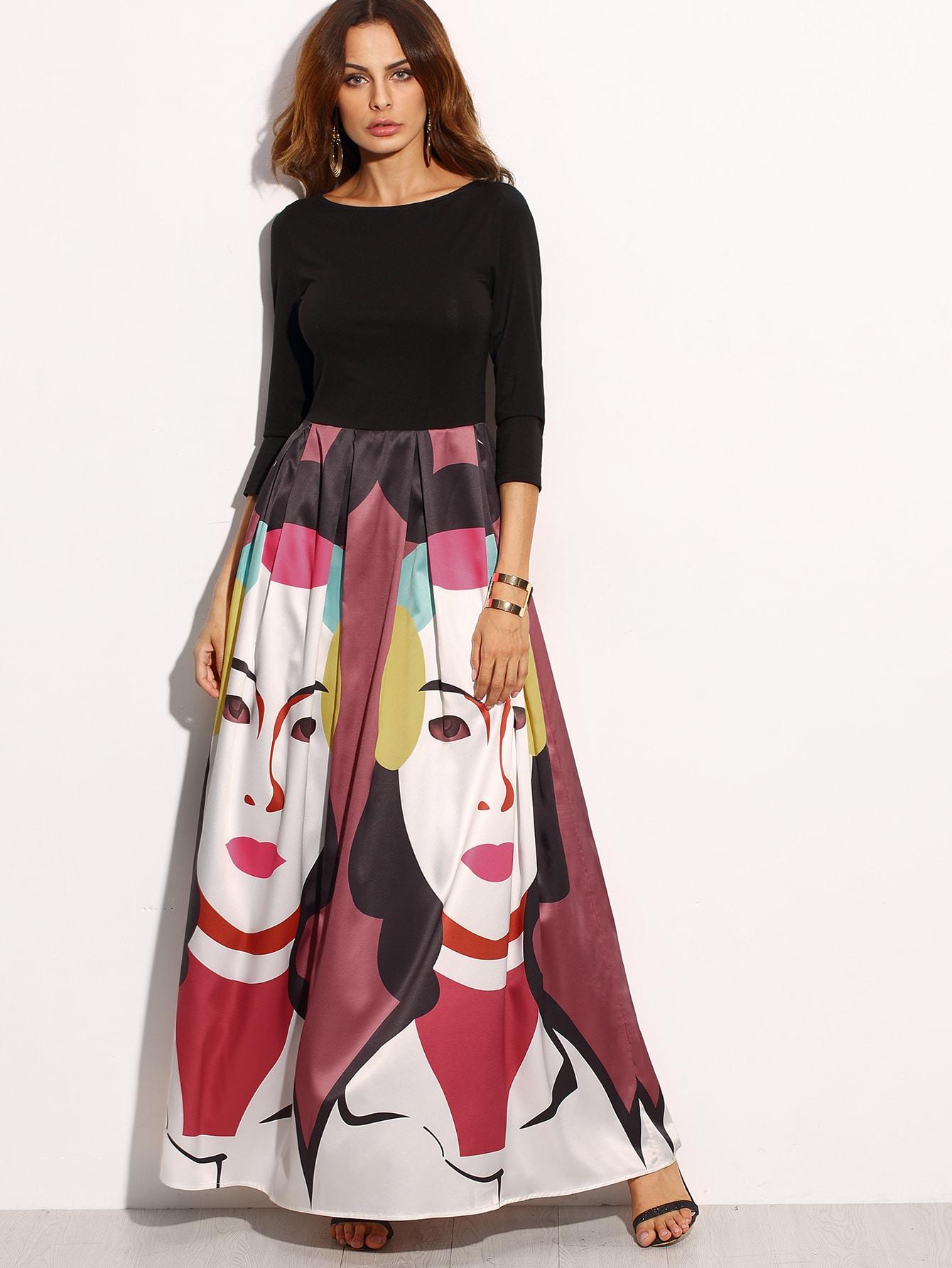 Multicolor Print Three Quarter Sleeve Skater Maxi Dress