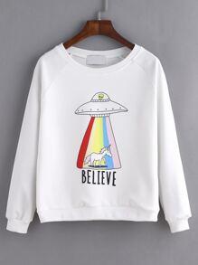 White UFO Print Raglan Sleeve Sweatshirt