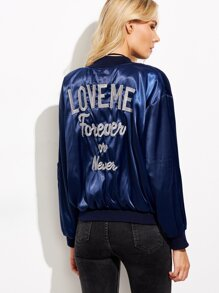 Blue Letter Embroidered Bomber Jacket