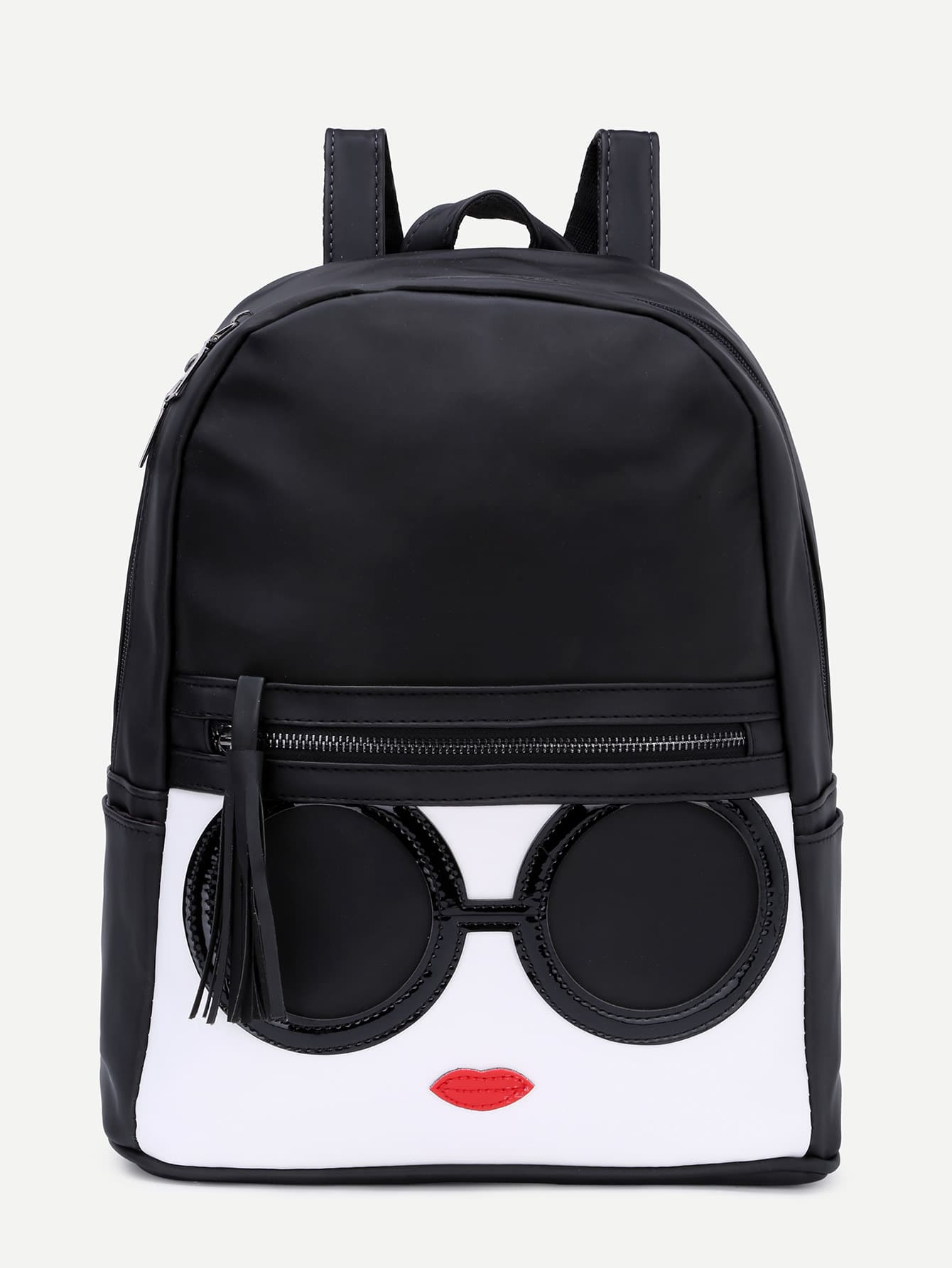 Black Contrast Patch Stitch Detail Zip Pocket Backpack bow tie cuff contrast patch pocket detail shirt