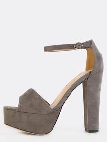 Suede Platform Chunky Heels GREY