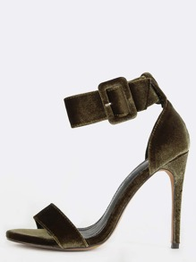 Velvet Open Toe Single Sole Heels OLIVE