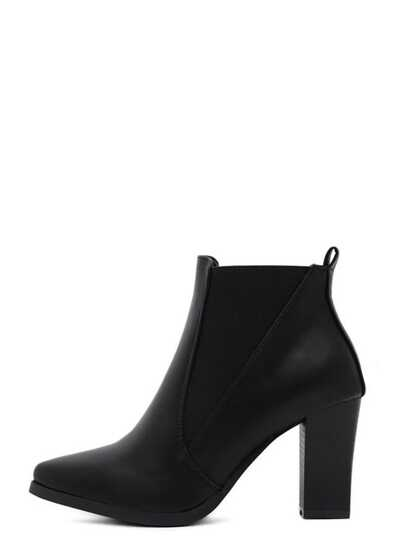 Black Faux Leather Pointed Toe Elastic Ankle Boots