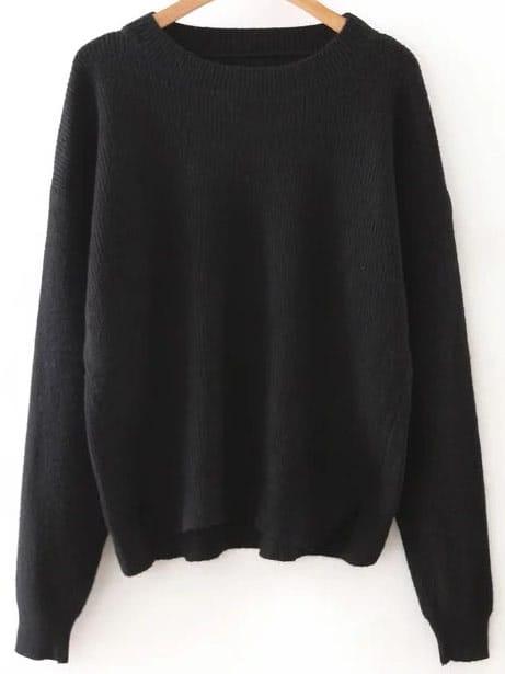 Black Round Neck Ribbed Split Side Knitwear sweater160815219