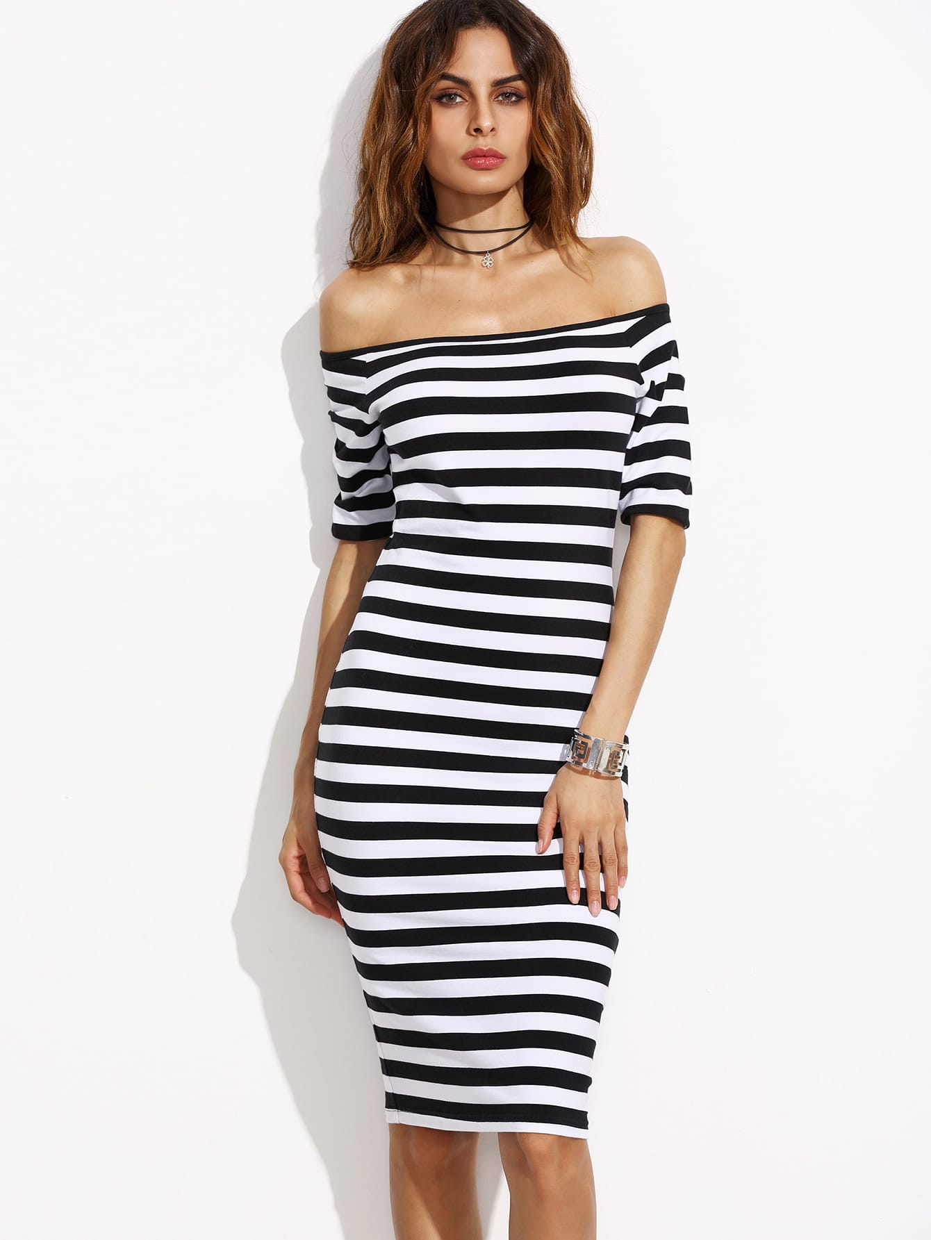 Two Tone Striped Bardot Pencil Dress two tone drop shoulder sweatshirt