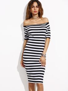 Black And White Striped Off The Shoulder Pencil Dress