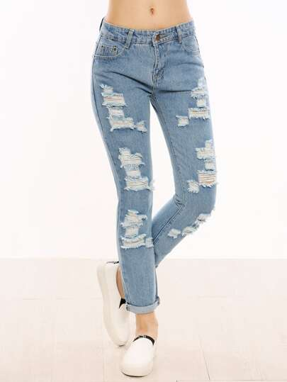 Blue Ripped Cuffed Jeans