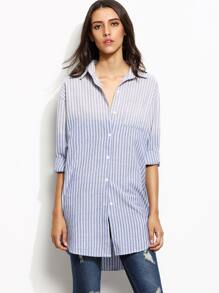 Ombre Vertical Striped Pocket High Low Shirt