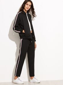 Black Striped Zipper Jacket With Drawstring Pants