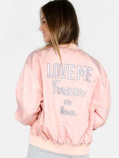 Cheeky Satin Zip Sleeve Bomber Jacket BLUSH