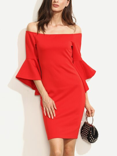 Red Ruffle Sleeve Off The Shoulder Split Sheath Dress