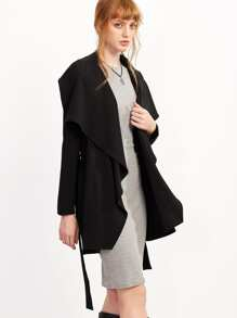 Black Lapel Long Sleeve Outerwear