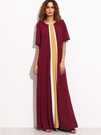 فستان ماكسي عنابي مطرز