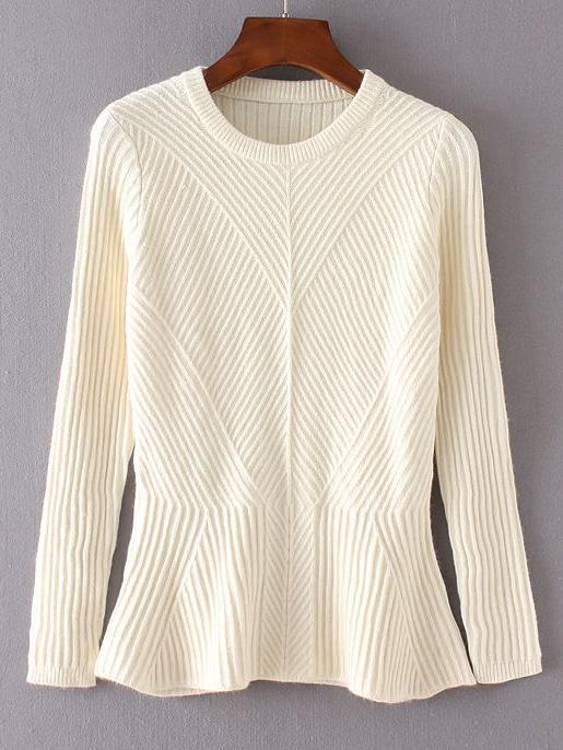 Beige Ruffle Hem Ribbed Sweater sweater160813202