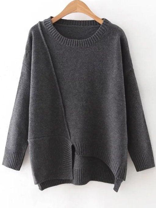 Dark Grey Round Neck Ribbed Trim Asymmetrical Sweater sweater160815225