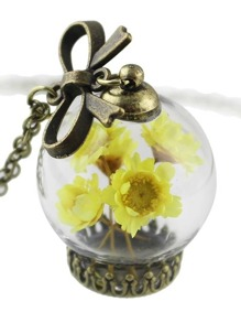 Yellow Flower Bottle Girly Pendant Necklace Costume Jewelry