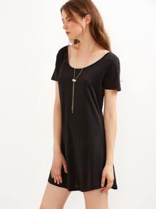 Black Cutout Back Tee Dress