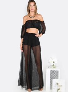 Mesh Crop Top Matching Set BLACK