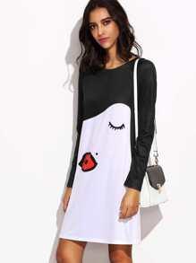 White Kiss Face Print Contrast Raglan Sleeve Dress