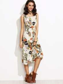 Plant Print Elastic Waist Tank Dress