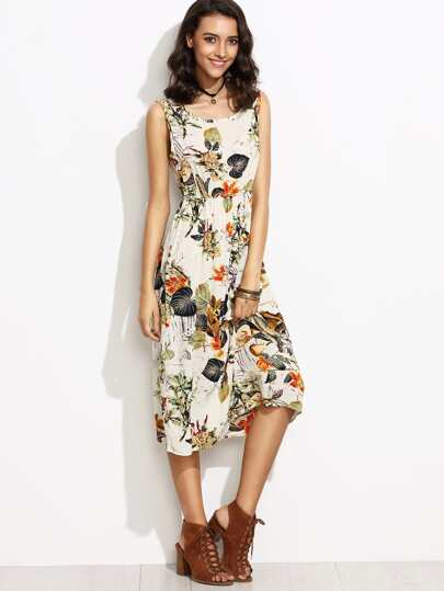 Tropical Print Elastic Waist Tank Dress