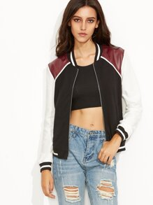 Color Block Panel Faux Leather Patch Zip Up Varsity Jacket