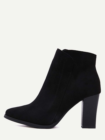 Black Faux Suede Pointed Toe Side Zipper Ankle Boots