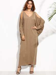 Camel Open Shoulder Dolman Sleeve Crisscross Maxi Dress