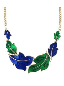 Green Enamel Maple Shape Statement Necklace