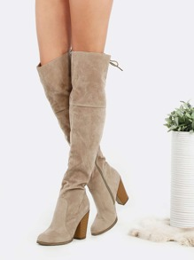 Suede Lace Back Stacked Heel Boots SAND