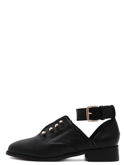 Black Cutout Ankle Strap Studded Flats