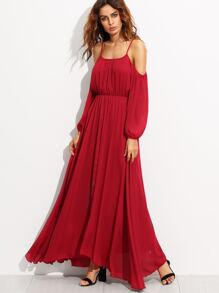 Burgundy Cold Shoulder Elastic Waist Chiffon Dress