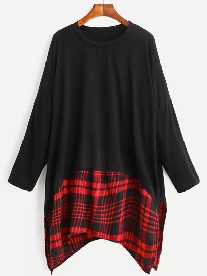 Black Contrast Plaid Panel Drop Shoulder Asymmetrical T-shirt