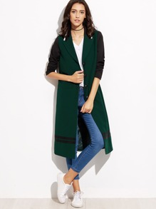 Green Contrast Sleeve Varsity Striped Detail Long Coat