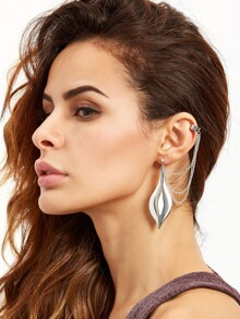 Silver Multi Chain Leaf Ear Clip
